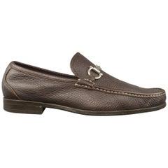 SALVATORE FERRAGAMO Size 11 Brown Leather Silver Horsebit Apron Toe Loafers