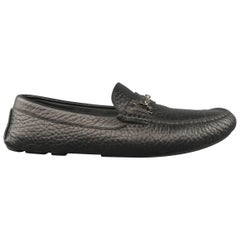 Men's DOLCE & GABBANA Size 10 Black Textured Leather Horsebit Driver Loafers