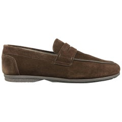 SALVATORE FERRAGAMO Size 10.5 Brown Suede Apron Toe Penny Loafers