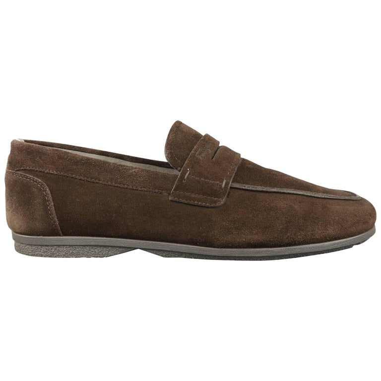 SALVATORE FERRAGAMO Size 10.5 Brown Suede Apron Toe Penny Loafers