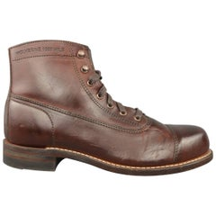 Men's WOLVERINE Size 7.5 Brown Leather 1000 MILE ROCKFORD-7.5 Boots