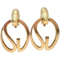 """80'S Monumental St. John Modern Abstract """"SJ"""" Gold Plate Earrings"""
