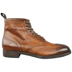 Men's TO BOOT NY Size 8.5 Brown Wingtip Brogue Leather Ankle Boots