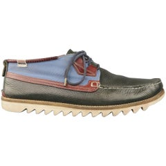 Men's HESCHUNG Size 9.5 Navy Leather & Canvas Apron Toe Boat Shoe Lace Up