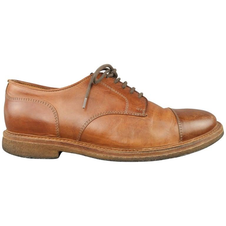 Men's BRUNELLO CUCINELLI Size 9 Tan Leather Cap Toe Crepe Sole Lace Up