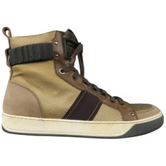Men's LANVIN Size 8 Metallic Gold & Taupe Suede High Top Cuff Sneakers