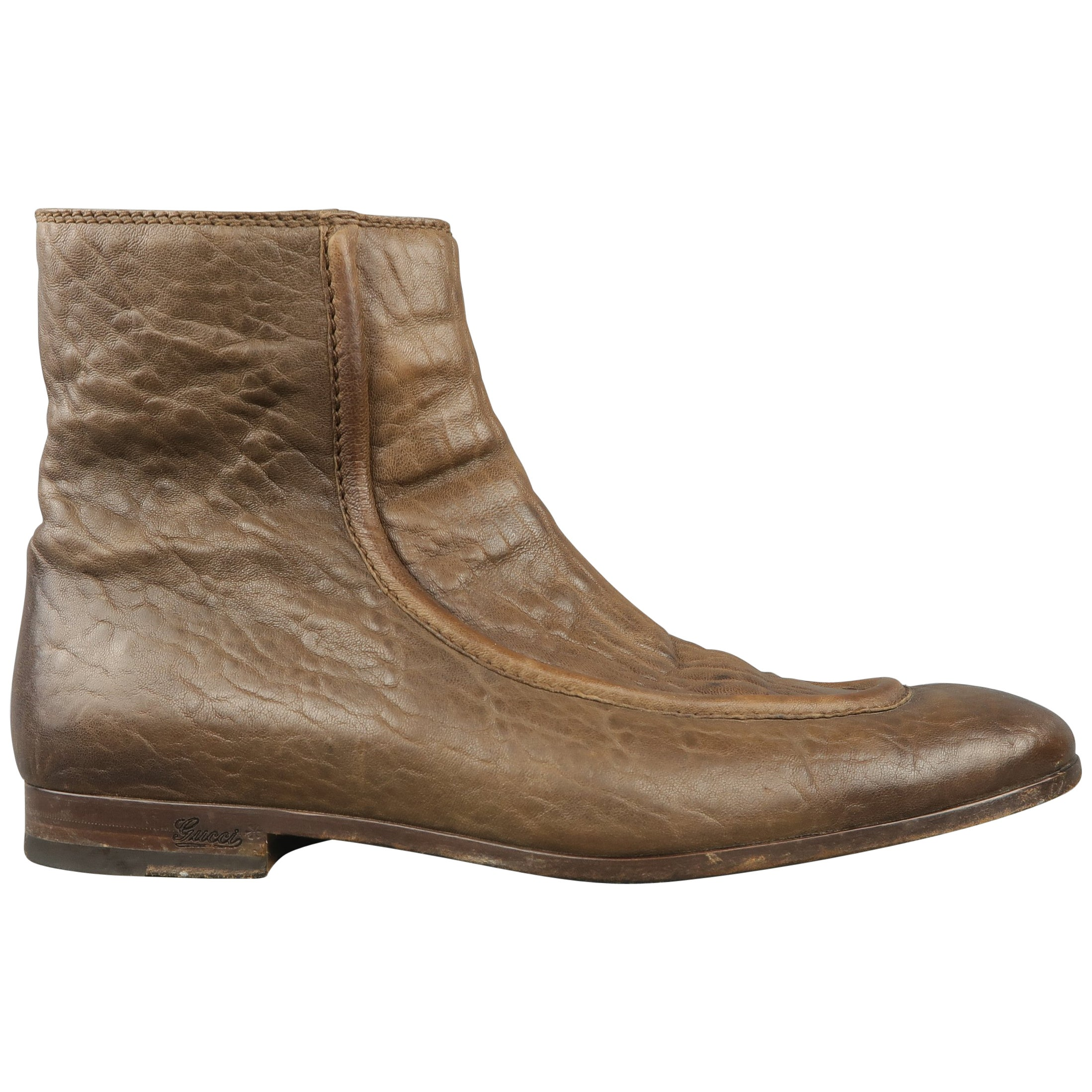 ee5a90b145f Men s GUCCI Boots Size 12 Taupe Textured Leather Apron Toe Ankle Boots    Shoes at 1stdibs