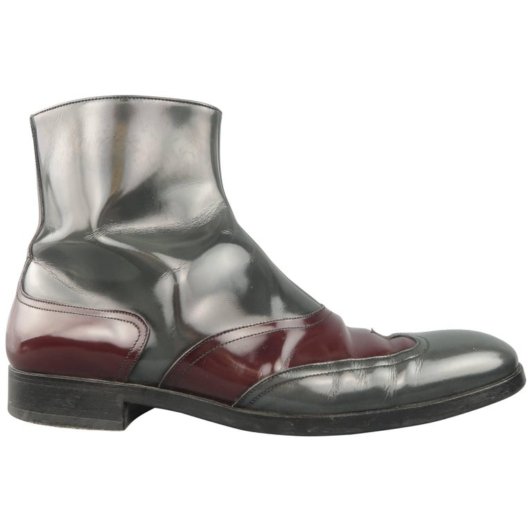 Men's Versace Boots Size 8 Grey & Burgundy Patent Leather Ankle Boots