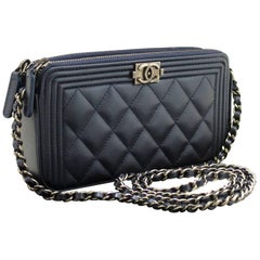CHANEL Boy Wallet On Chain WOC Navy Shoulder Bag Quilted Zipper