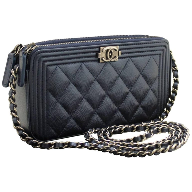 d9ee1e28b8b6ba CHANEL Boy Wallet On Chain WOC Navy Shoulder Bag Quilted Zipper For Sale