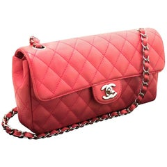 CHANEL Caviar Chain Shoulder Bag Pink Quilted Flap Leather Silver