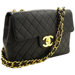 "CHANEL 11"" Jumbo Chain Shoulder Bag Crossbody Black Quilted Flap"