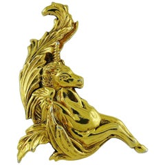 Georges Rech Paris Vintage Gold Toned Large Unicorn Brooch