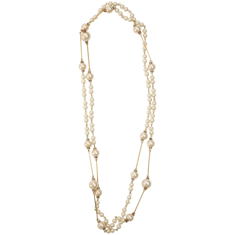 """Chanel, Spring 2001 faux pearl sautoir with crystal stations.   Chain Length 70"""""""