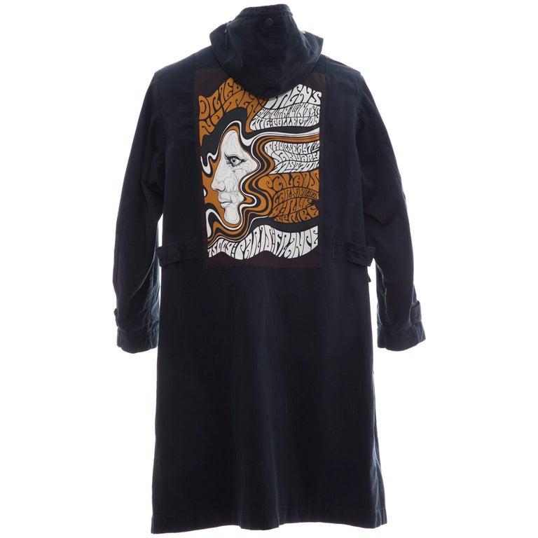 Dries Van Noten Men's Slate Cotton Vaughn Parka With Hood, Fall 2016 For Sale