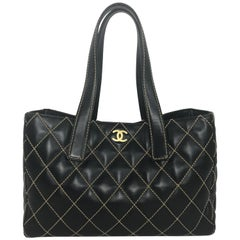 Chanel Quilted Leather Wild Stitch Tote in Black Tote Bag