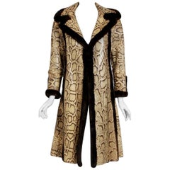 1970's Genuine Python Snakeskin & Mink Fur Portrait Collar Princess Coat Jacket