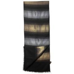 Loro Piana Black & Metallic Gold Cashmere & Silk Scarf