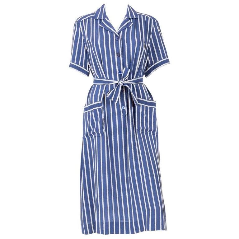 1970s Celine Blue Silk Shirt Dress