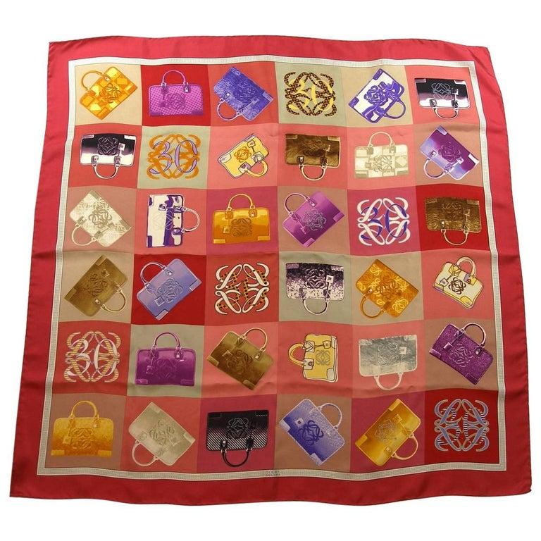 Rare Loewe Amazona Bag Twill Silk Carré Pink Color 90 cm / Good Condition