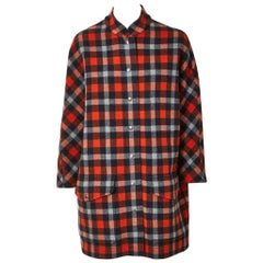 Nicolas Ghesquiere For Balenciaga Double Face Wool Plaid Coat