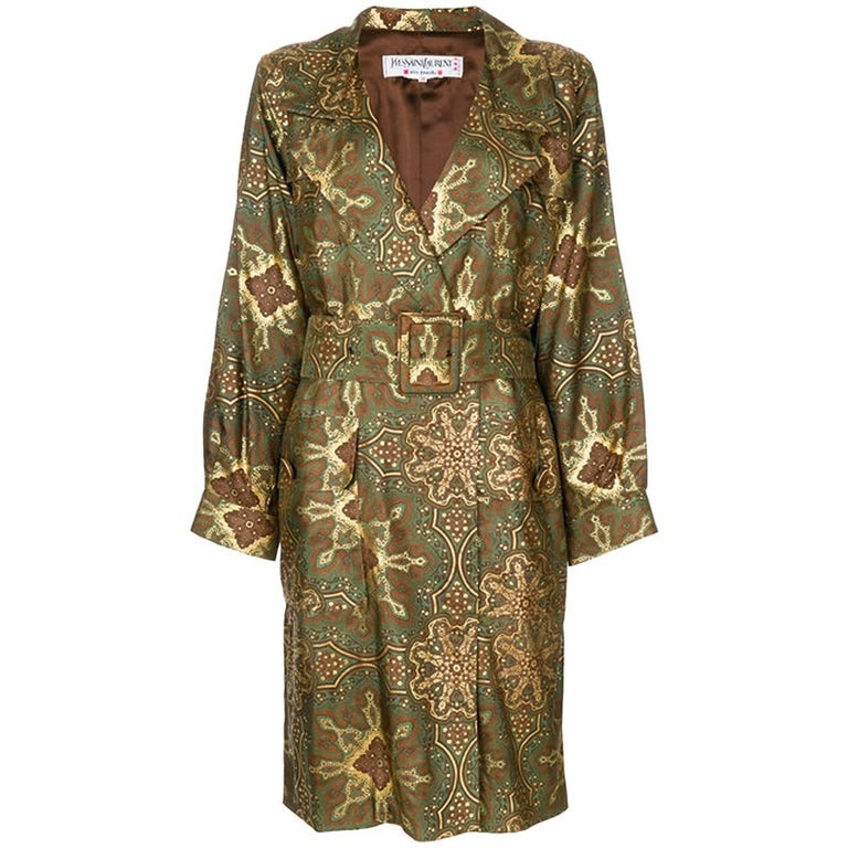 Yves Saint Laurent Paisley Silk Trench Coat, 1980s