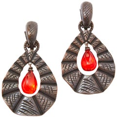 Yves Saint Laurent Rive Gauche Bronze Toned Drop Earrings