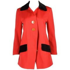 Vivienne Westwood red wool jacket with black velvet collar, AW 1990