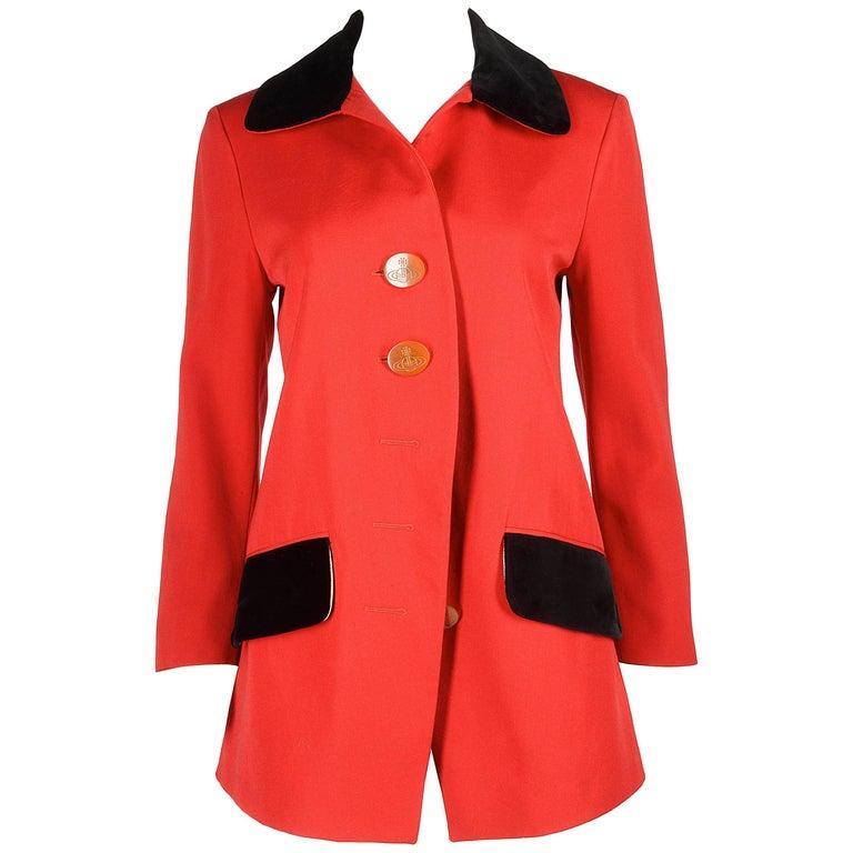 Vivienne Westwood red wool jacket with black velvet collar, AW 1990