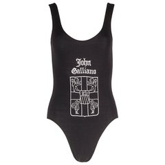 John Galliano London black cotton jersey bodysuit