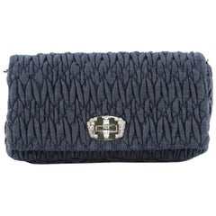 Miu Miu Crystal Clutch Matelasse Denim Small