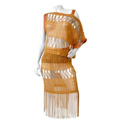 1990s Missoni Open Weave Fringe Skirt & Top Set