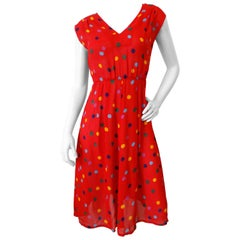 1980s Miss O by Oscar De La Renta Polka Dot Dress