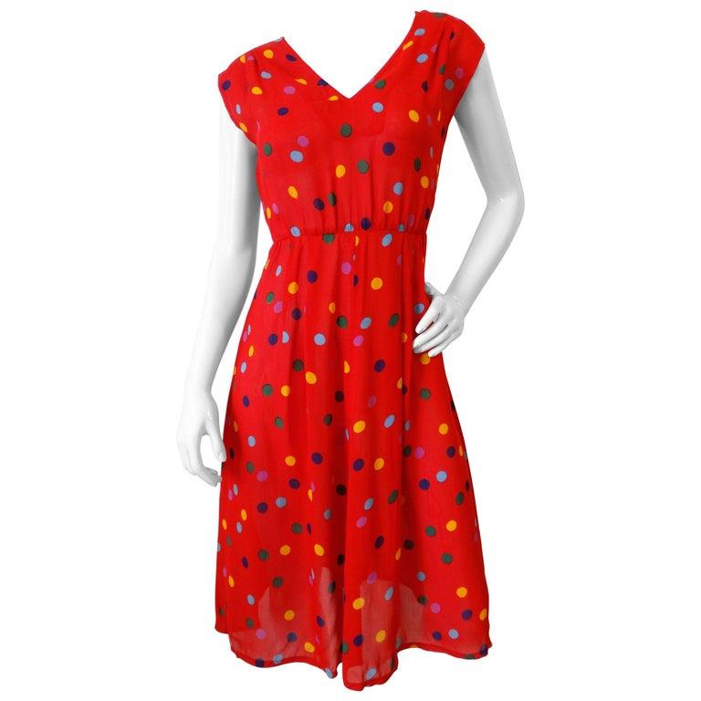 1980s Miss O by Oscar De La Renta Polka Dot Dress