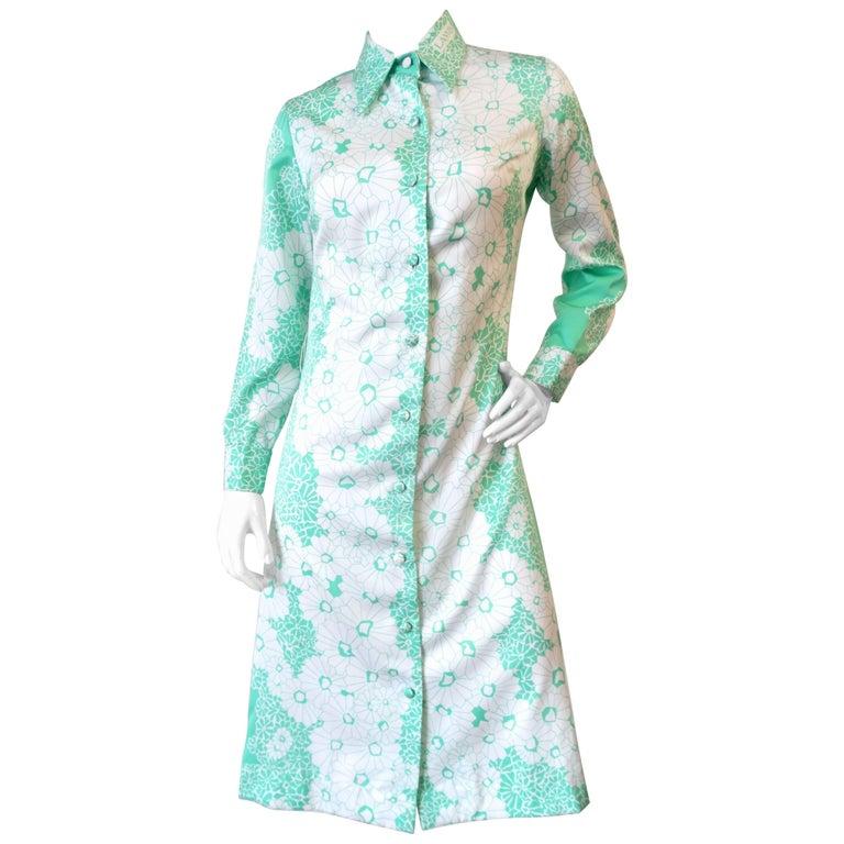 1960s Lanvin Mint & White Floral Button Up Dress