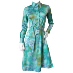 1970s Lanvin Turquoise floral Button Up Dress