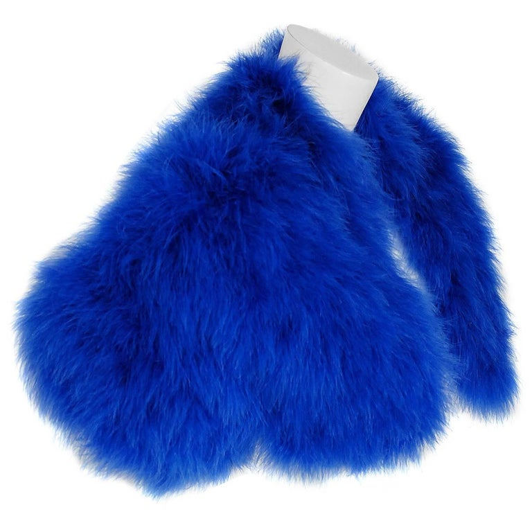 2008 Alexander McQueen Rare Sapphire Blue Marabou Feather Cropped Bolero Jacket