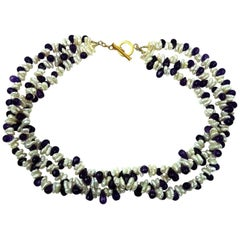 Triple strand Pearl and Amethyst Necklace