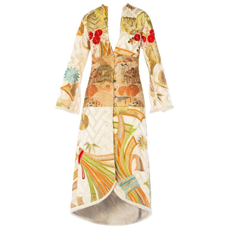 Embroidered Japanese Kimono and Obi Custom Coat.