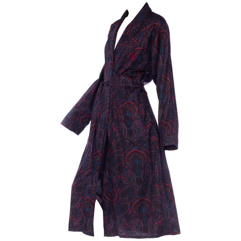 Silk Paisley Print Robe