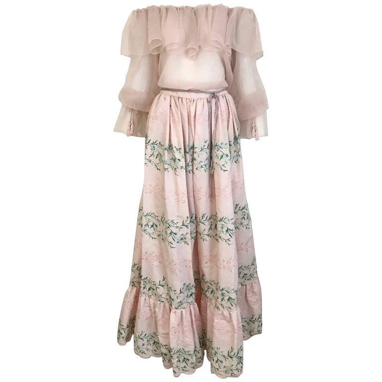 Vintage Oscar De La Renta Light Pink Blouse and Embroidered Maxi Skirt