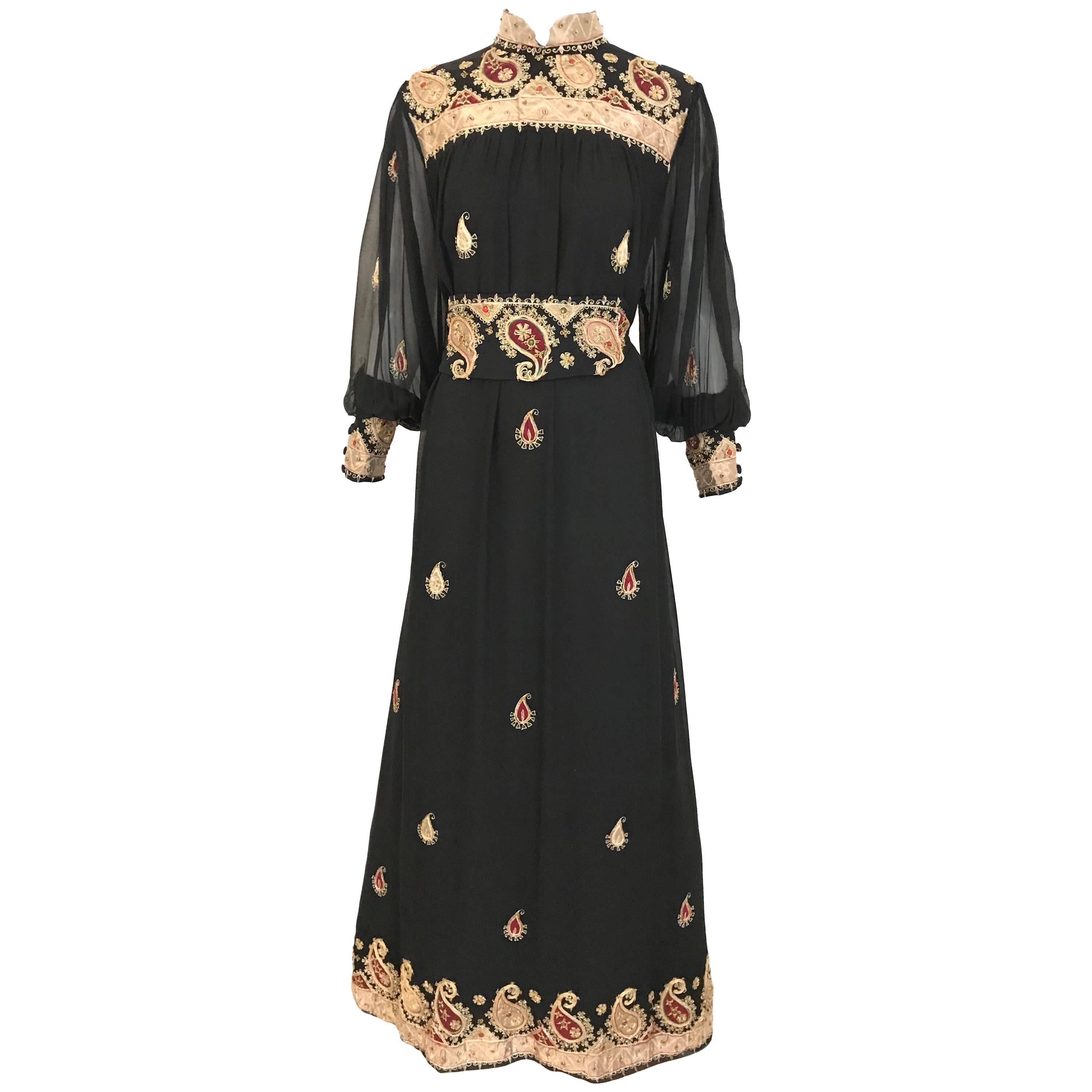 Vintage Black and Gold Paisley Embroidered Silk Caftan Maxi Dress with Belt