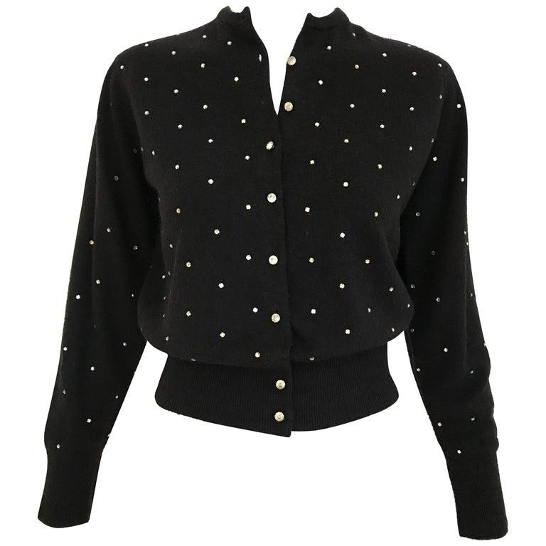 1950s Schiaparelli Black Cashmere Sweater With Rhinestones Embellishments