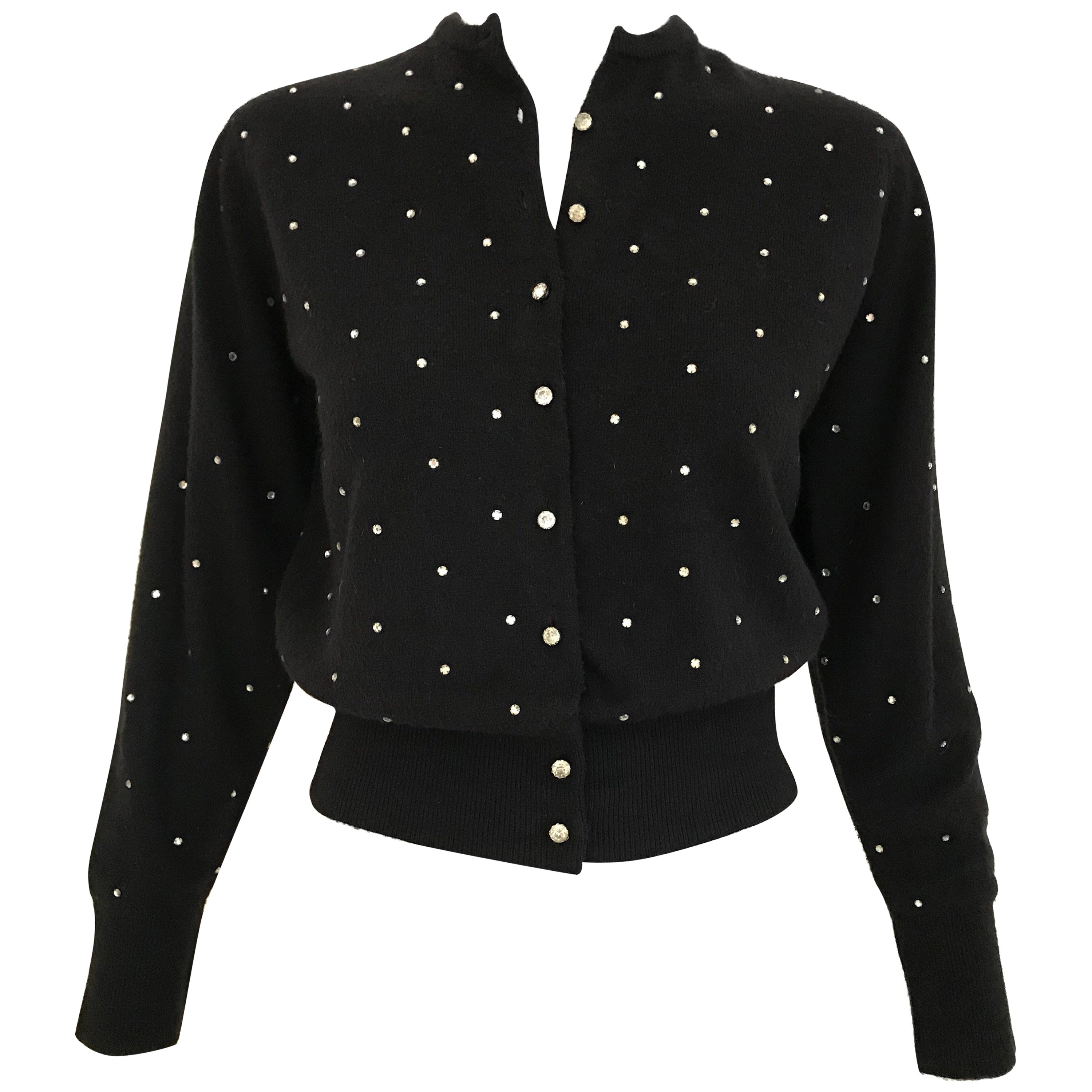 1950s Schiaparelli Black Cashmere Sweater With Rhinestones Embellishments
