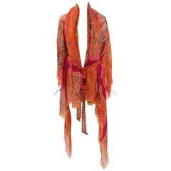 Hermes Printed Silk Linen Caftan Jacket