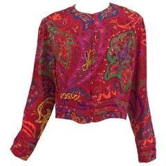 Lanvin silk paisley print top 1980s