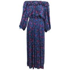 Oscar de la Renta Miss O silk paisley peasant style set