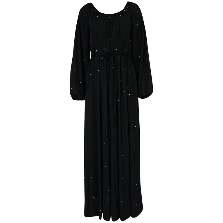 1970s Donald Brooks Black Rhinestone Detailed Jersey Dress