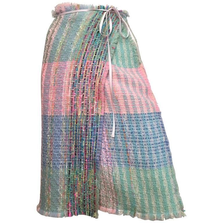 Balmain Patchwork Boucle Wrap Skirt Size 4 / 6.