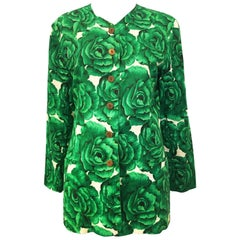 Adrienne Vittadini Green Floral Short Sleeve Jacket